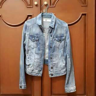 Preloved Distressed Denim Jacket By TRF (Zara)