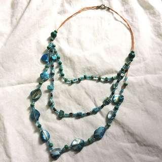 Kalung Fashion Layered Kerang, Manik Kayu & Plastik Hijau Biru Tosca/Turquoise