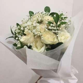 Bouquet Bunga Mawar - White Rose