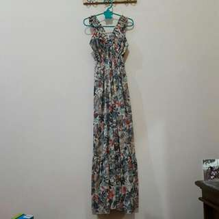 Preloved Summer Floral Long Dress By Simplicity