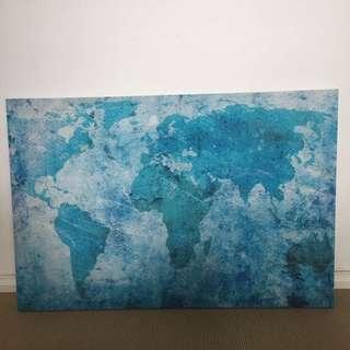 World Map Canvas Pront