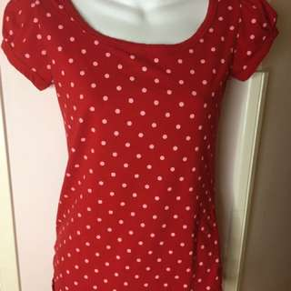Red Polkadot Top Sz M