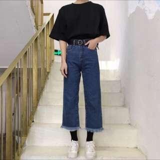韓版簡約毛邊九分褲