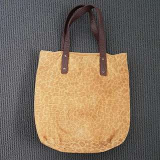 Free People Tanned Canvas Leopard Print Bag