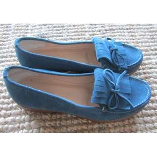 Jil Sander blue suede flat shoes, size 39, AUS 8.5