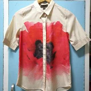 Plains and Prints floral polo blouse