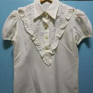 White raffled blouse