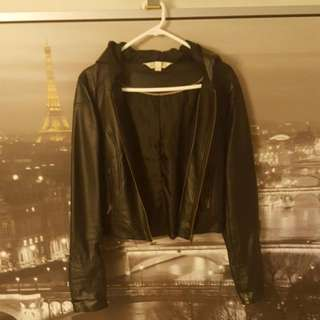 Jay Jays Crop Black Hooded PU Leather Jacket | Size 10