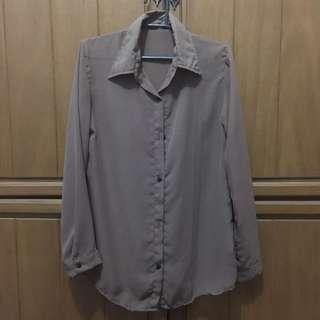 Sheer Brown Long Sleeve Blouse