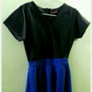 Dress Hitam Kombonasi Biru elektrik