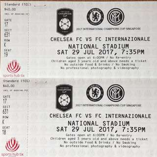2017 International Champions Cup Singapore (Chelsea FC VS FC Internazionale) 2 Tickets