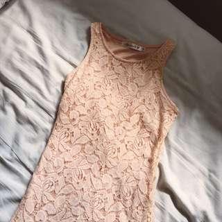 agneselle peach lace shift dress