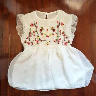 Emboidered Floral Top ( White )