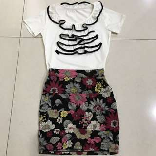 White Top W Floral Skirt