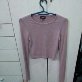 Knit Nude Longsleeves Croptop