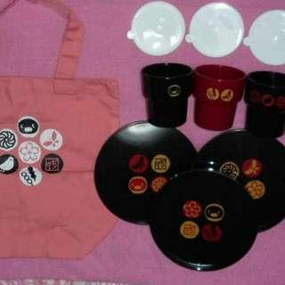 pingu 曰本絕版2003年和風set 碟3個+ 有蓋杯3個+ 布袋(平售)
