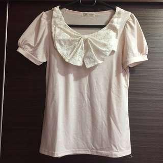 正韓 粉色 蕾絲蝴蝶結上衣 Lace Pink T-Shirt