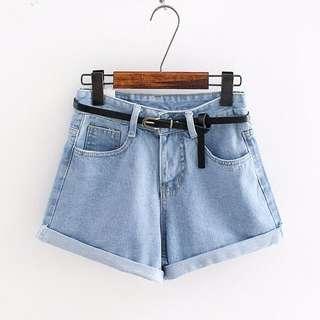 附皮帶👍🏼高腰牛仔短褲