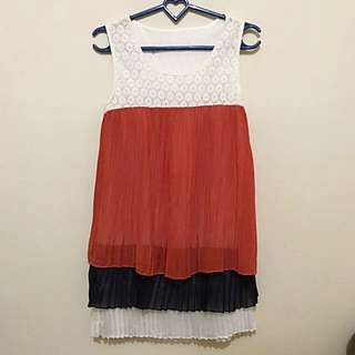 Korean Pleated Mini Dress/Top With Lace Details