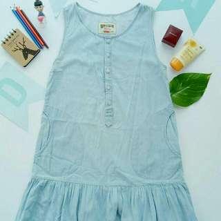 Sleeveless Drop-waist Denim Dress