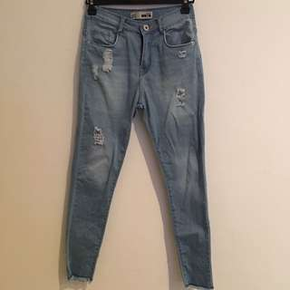 Topshop High Waisted Ripped Jeans