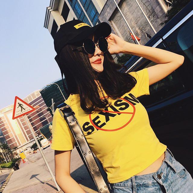 2017夏季新款露臍短款百搭字母印花T恤上衣