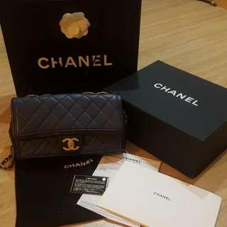 Authentic Chanel Lamb Skin Sac Rabat Bag