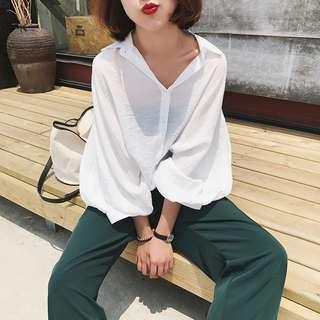 文藝復古蝙蝠袖白色襯衫女韓版寬松純色防曬襯衣 fw4