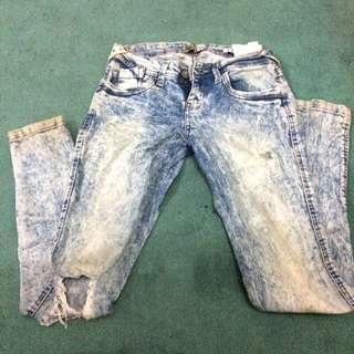 Bershka Acid Wash Ripped Jeans