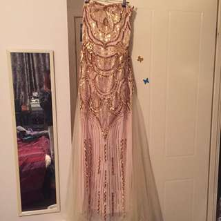 NEW Strapless Gold sequin Formal Dress Ballgown