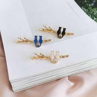 【flyer的旅行箱】森林系樹枝相偎愛心小貓咪 髮飾/邊夾/髮夾 三色