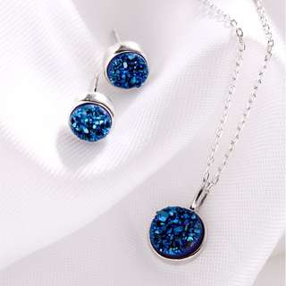 Blue Stone 925 Earrings And Necklace