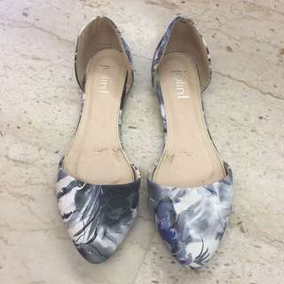 Blue White and Grey Floral Print Flats