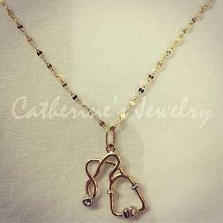 18k Saudi Gold Stethoscope Necklace