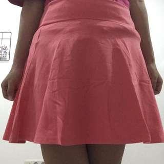 forever 21 skirt warna pink muda dan hijau tosca tua