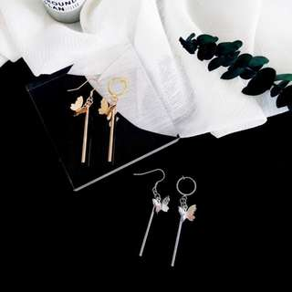 【flyer的旅行箱】韓國復古極簡蝴蝶墜飾 耳環/耳飾/耳針 兩色