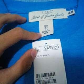 H&m T Shirt Blue New Logg for Men