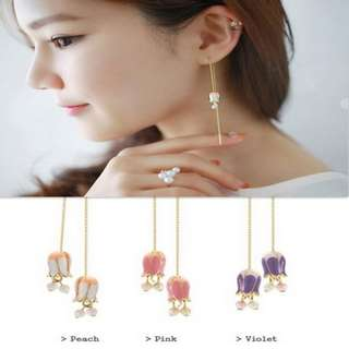 【flyer的旅行箱】韓國唯美鈴蘭花朵耳線耳線/耳環/耳飾 三色