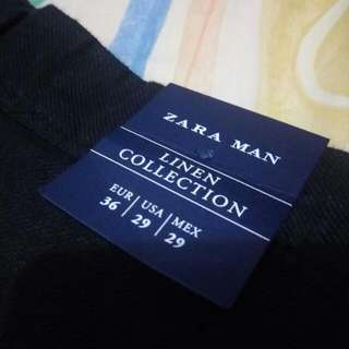 Celana Panjang Hitam Zara Man Linen Collection Size 29
