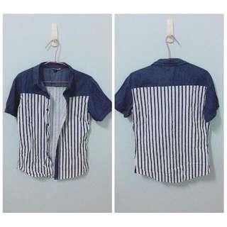 條紋短袖襯衫