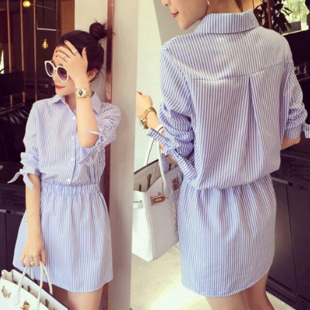 藍白條紋襯衫式洋裝