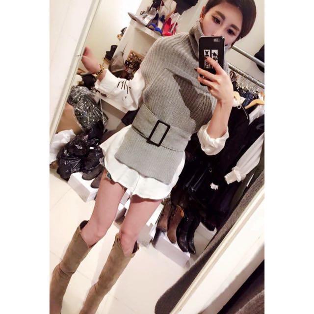 正韓學院風高領毛衣(灰色)