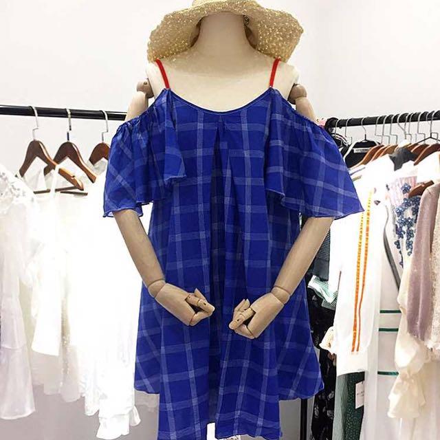 韓國超好看格子娃娃裝露肩洋裝