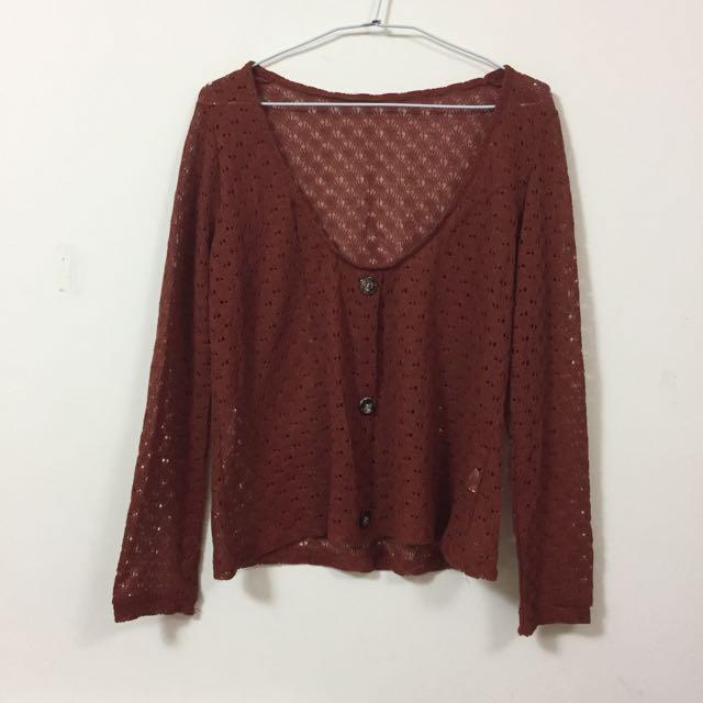 針織外罩衫 紅褐色