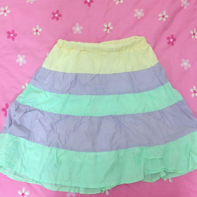 冰淇淋棉花糖 薰衣草紫湖水綠條紋半裙