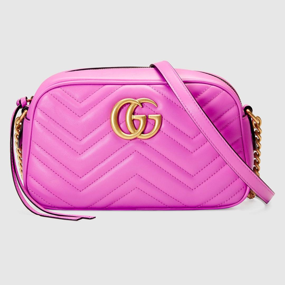 預購{公主病精品} Gucci Marmont 447632 經典雙G 金鍊肩包 真皮 粉紅色 附購證