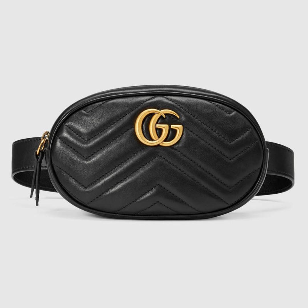 預購{公主病精品} Gucci Marmont 476434 雙G 小型腰包 真皮 黑色 附購證