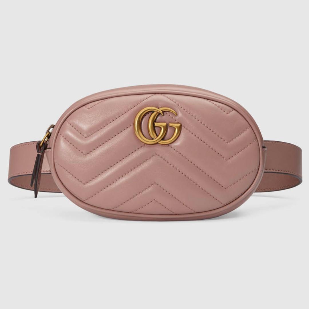 預購{公主病精品} Gucci Marmont 476434 雙G 小型腰包 真皮 祼色 附購證