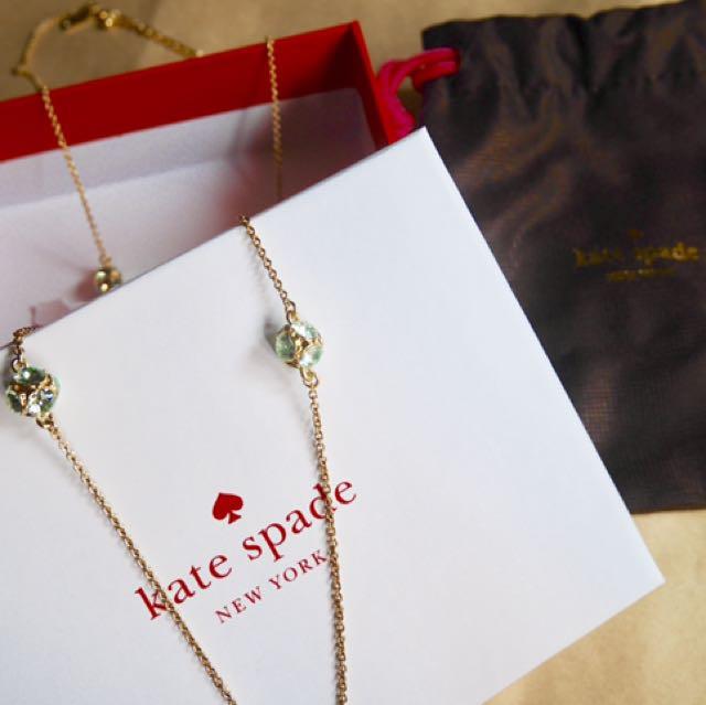 全新 Kate spade 綠色水鑽金色長項鍊