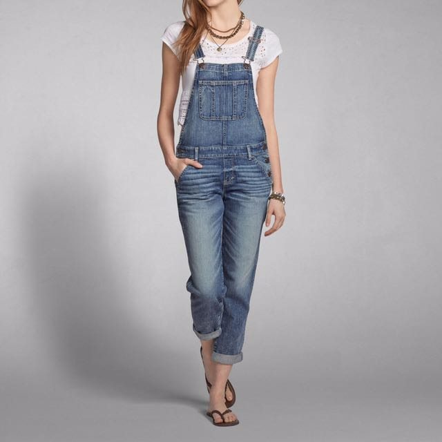 b22cc02848ce Abercrombie And Fitch Allie Boyfriend Overalls Jeans